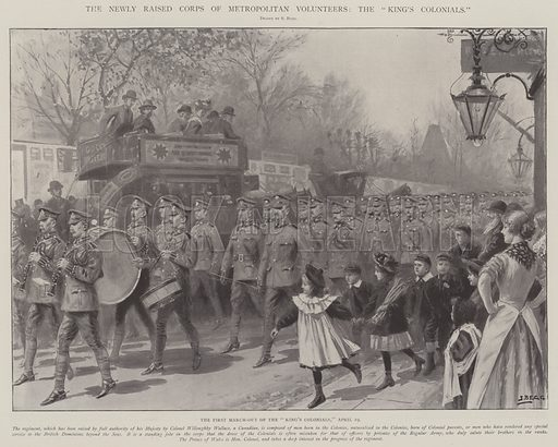 "The Newly Raised Corps of Metropolitan Volunteers, the ""King's Colonials"", the First March-out of the ""King's Colonials,"" 19 April. Illustration for The Illustrated London News, 26 April 1902."