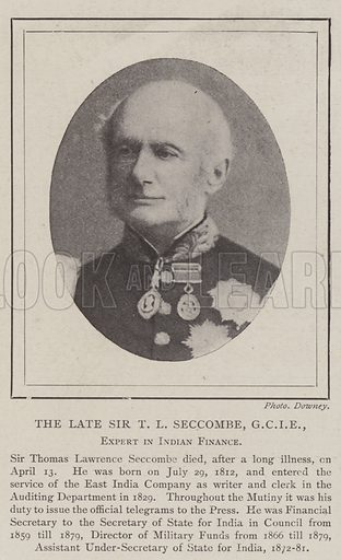 The late Sir TL Seccombe, GCIE, Expert in Indian Finance. Illustration for The Illustrated London News, 26 April 1902.