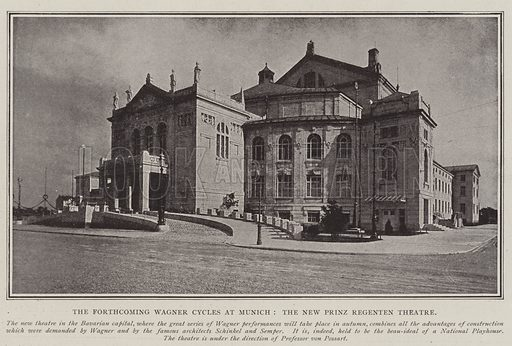 The Forthcoming Wagner Cycles at Munich, the New Prinz Regenten Theatre. Illustration for The Illustrated London News, 3 May 1902.