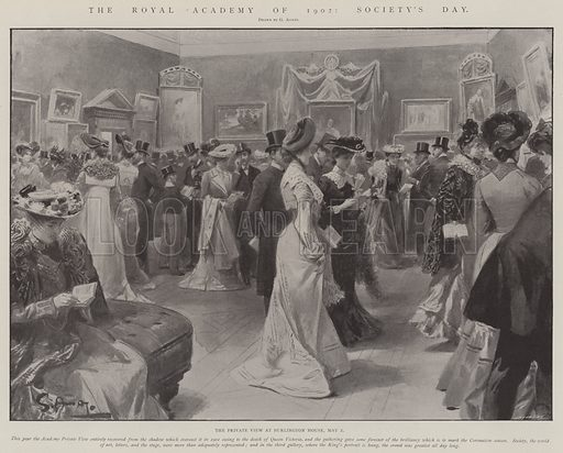 The Royal Academy of 1902, Society's Day, the Private View at Burlington House, 2 May. Illustration for The Illustrated London News, 10 May 1902.