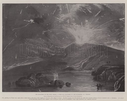 The Disasters in the West Indies, a Previous Eruption of the Soufriere, St Vincent. Illustration for The Illustrated London News, 17 May 1902.