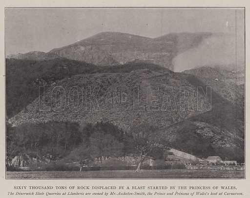 Sixty Thousand Tons of Rock displaced by a Blast started by the Princess of Wales. Illustration for The Illustrated London News, 17 May 1902.