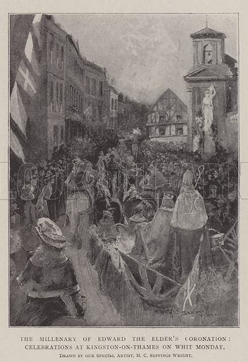 The Millenary of Edward the Elder's Coronation, Celebrations at Kingston-on-Thames on Whit Monday. Illustration for The Illustrated London News, 24 May 1902.