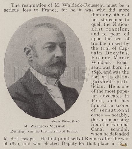 M Waldeck-Rousseau, retiring from the Premiership of France. Illustration for The Illustrated London News, 24 May 1902.