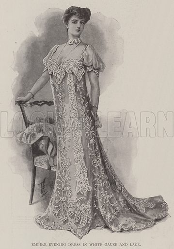 Empire Evening Dress in White Gauze and Lace. Illustration for The Illustrated London News, 24 May 1902.