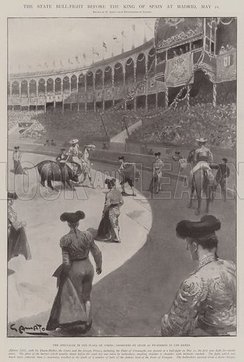 The State Bull-Fight before the King of Spain at Madrid, 21 May, the Spectacle in the Plaza de Toros, Grandees of Spain as Picadores in the Arena. Illustration for The Illustrated London News, 31 May 1902.