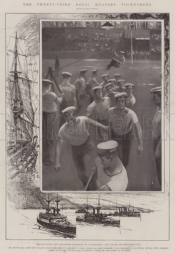 The Twenty-Third Royal Military Tournament, Practice with the Life-Saving Apparatus by Bluejackets, the Use of the Breeches Buoy. Illustration for The Illustrated London News, 31 May 1902.