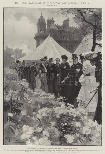 The King's Patronage of the Royal Horticultural Society, King Edward and Queen Alexandra at the Temple Flower Show, 28 May. Illustration for The Illustrated London News, 7 June 1902.