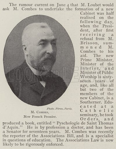 M Combes, New French Premier. Illustration for The Illustrated London News, 14 June 1902.