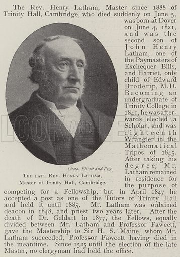 The late Reverend Henry Latham, Master of Trinity Hall, Cambridge. Illustration for The Illustrated London News, 14 June 1902.