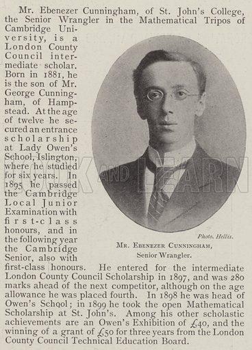 Mr Ebenezer Cunningham, Senior Wrangler. Illustration for The Illustrated London News, 14 June 1902.