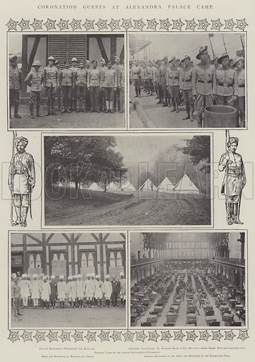 Coronation Guests at Alexandra Palace Camp. Illustration for The Illustrated London News, 14 June 1902.