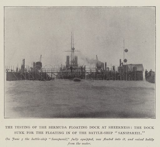 """The Testing of the Bermuda Floating Dock at Sheerness, the Dock sunk for the Floating in of the Battle-Ship """"Sanspareil"""". Illustration for The Illustrated London News, 14 June 1902."""