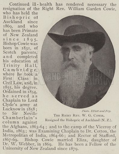 The Right Reverend WG Cowie, resigned the Bishopric of Auckland (New Zealand). Illustration for The Illustrated London News, 21 June 1902.