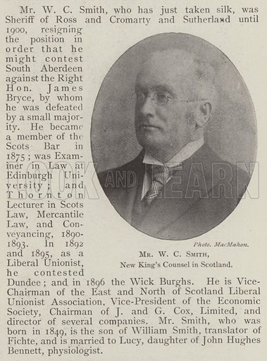 Mr WC Smith, New King's Counsel in Scotland. Illustration for The Illustrated London News, 21 June 1902.