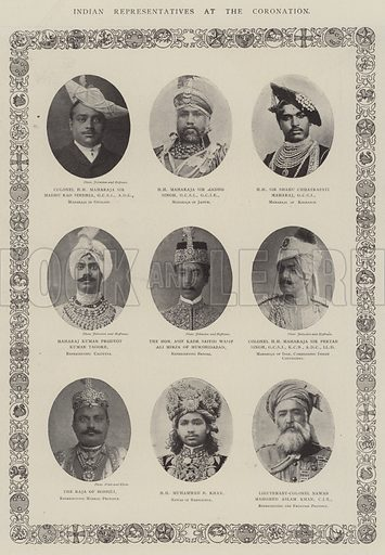 Indian Representatives at the Coronation. Illustration for The Illustrated London News, 28 June 1902.