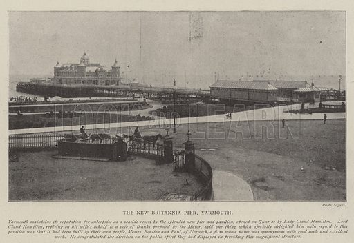The New Britannia Pier, Yarmouth. Illustration for The Illustrated London News, 28 June 1902.