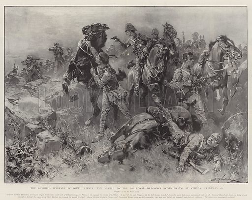 The Guerilla Warfare in South Africa, the Mishap to the 2nd Royal Dragoons (Scots Greys) at Klippan, 18 February. Illustration for The Illustrated London News, 5 April 1902.