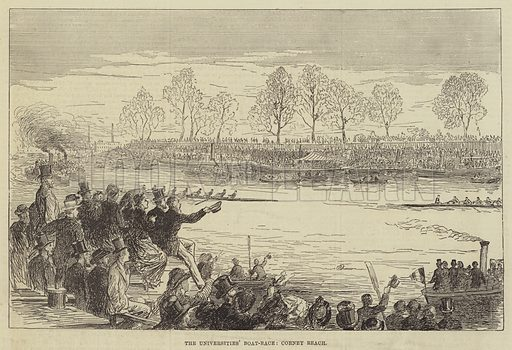 The Universities' Boat-Race, Corney Reach. Illustration for The Illustrated Sporting and Dramatic News, 15 April 1876.