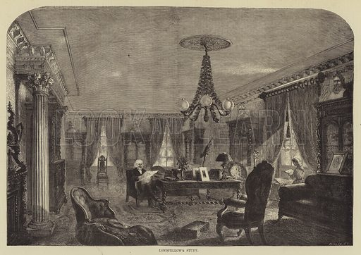 Longfellow's Study. Illustration for The Illustrated Sporting and Dramatic News, 29 April 1876.