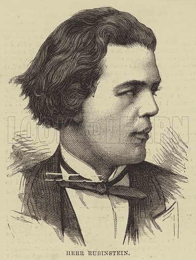 Herr Rubinstein. Illustration for The Illustrated Sporting and Dramatic News, 6 May 1876.