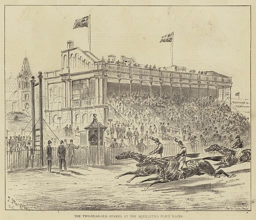 The Two-Year-Old Stakes at the Alexandra Park Races. Illustration for The Illustrated Sporting and Dramatic News, 20 May 1876.
