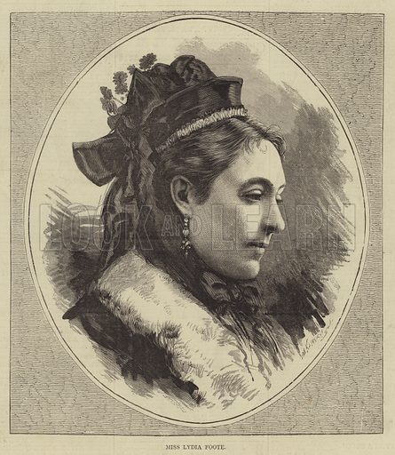 Miss Lydia Foote. Illustration for The Illustrated Sporting and Dramatic News, 27 May 1876.