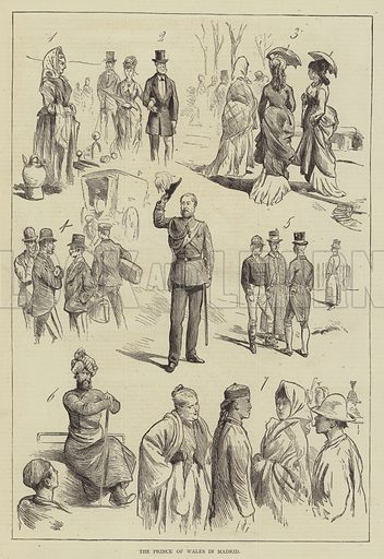 The Prince of Wales in Madrid. Illustration for The Illustrated Sporting and Dramatic News, 27 May 1876.