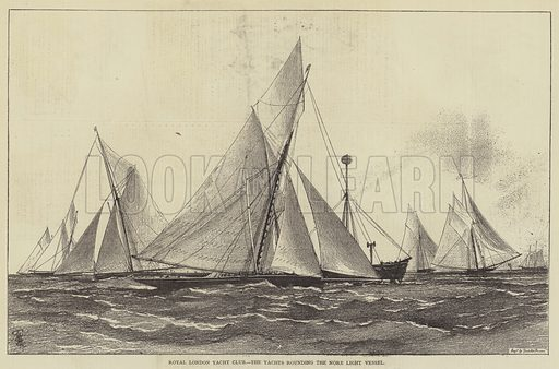 Royal London Yacht Club, the Yachts rounding the Nore Light Vessel. Illustration for The Illustrated Sporting and Dramatic News, 10 June 1876.