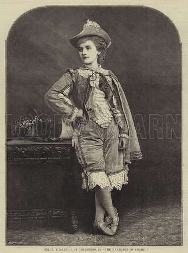 """Mademoiselle Thalberg, as Cherubino, in """"The Marriage of Figaro"""". Illustration for The Illustrated Sporting and Dramatic News, 8 July 1876."""