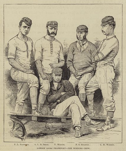 London versus Frankfort, the Winning Crew. Illustration for The Illustrated Sporting and Dramatic News, 8 July 1876.