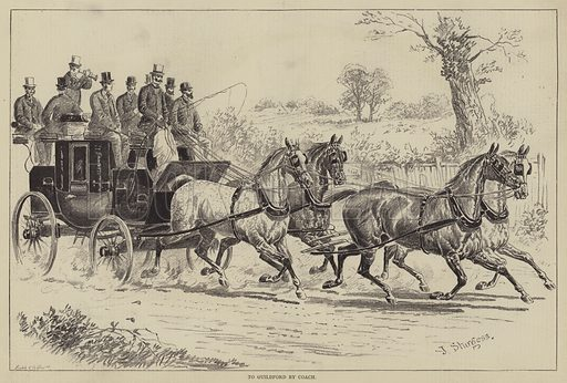 To Guildford by Coach. Illustration for The Illustrated Sporting and Dramatic News, 29 July 1876.