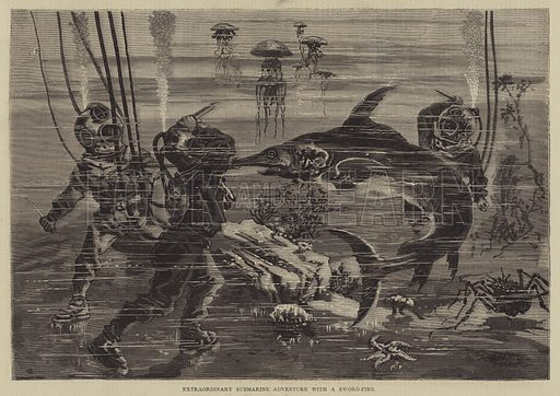 Extraordinary Submarine Adventure with a Sword-Fish. Illustration for The Illustrated Sporting and Dramatic News, 12 August 1876.