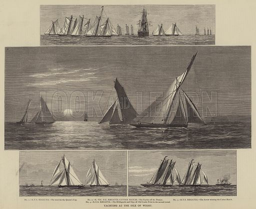 Yachting at the Isle of Wight. Illustration for The Illustrated Sporting and Dramatic News, 19 August 1876.