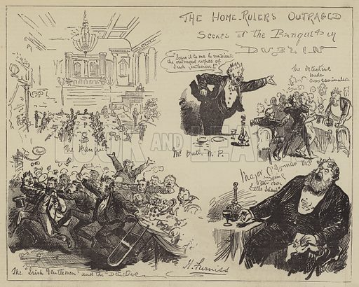 The Home-Rulers Outraged, Scenes at the Banquet in Dublin. Illustration for The Illustrated Sporting and Dramatic News, 2 September 1876.