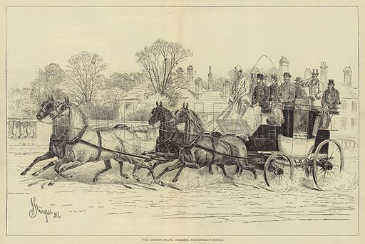 The Oxford Coach crossing Maidenhead Bridge. Illustration for The Illustrated Sporting and Dramatic News, 17 June 1876.