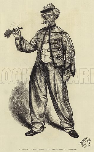 """M Marius, as Roland-de-Roncevaux-Ramponneau in """"Nemesis"""". Illustration for The Illustrated Sporting and Dramatic News, 1876."""