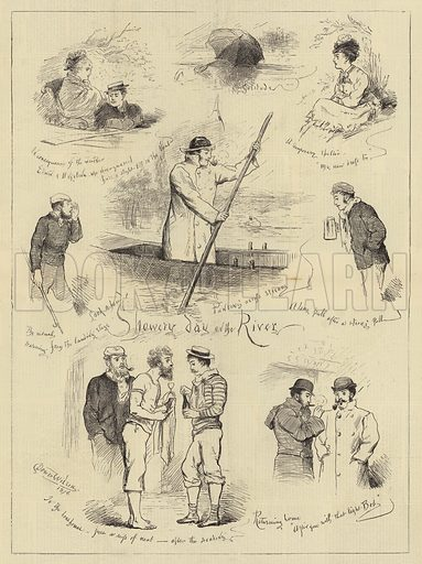 Showery Day on the River. Illustration for The Illustrated Sporting and Dramatic News, 1 July 1876.