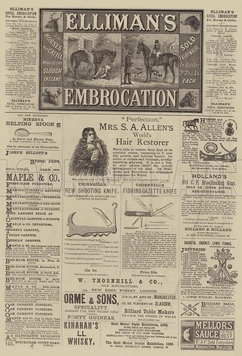 Page of Advertisements. Illustration for The Illustrated Sporting and Dramatic News, 25 September 1880.