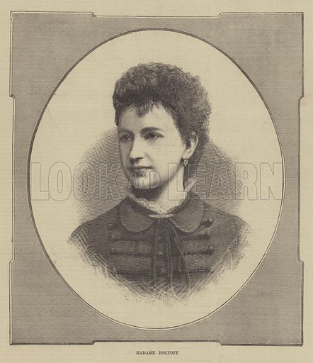 Madame Essipoff. Illustration for The Illustrated Sporting and Dramatic News, 2 October 1880.