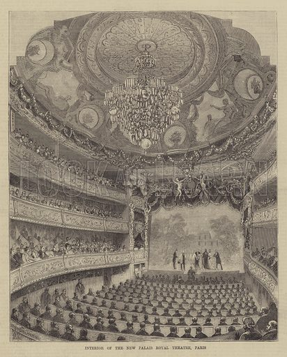Interior of the New Palais Royal Theatre, Paris. Illustration for The Illustrated Sporting and Dramatic News, 2 October 1880.