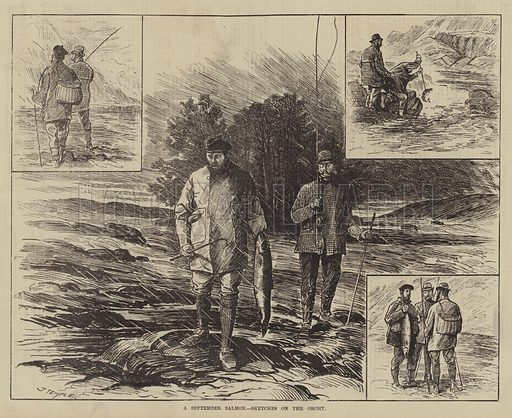 A September Salmon, Sketches on the Orchy. Illustration for The Illustrated Sporting and Dramatic News, 9 October 1880.