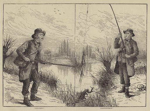 Fishing Scenes. Illustration for The Illustrated Sporting and Dramatic News, 16 October 1880.