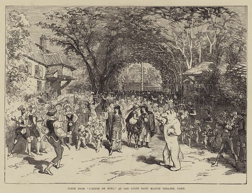 """Scene from """"L'Abrre de Noel,"""" at the Porte Saint Martin Theatre, Paris. Illustration for The Illustrated Sporting and Dramatic News, 16 October 1880."""