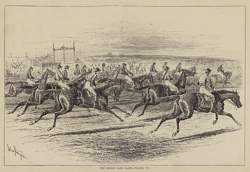 The Middle Park Plate, pulling up. Illustration for The Illustrated Sporting and Dramatic News, 23 October 1880.