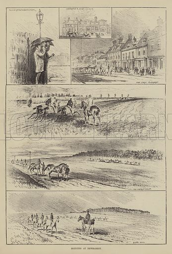 Sketches at Newmarket. Illustration for The Illustrated Sporting and Dramatic News, 23 October 1880.