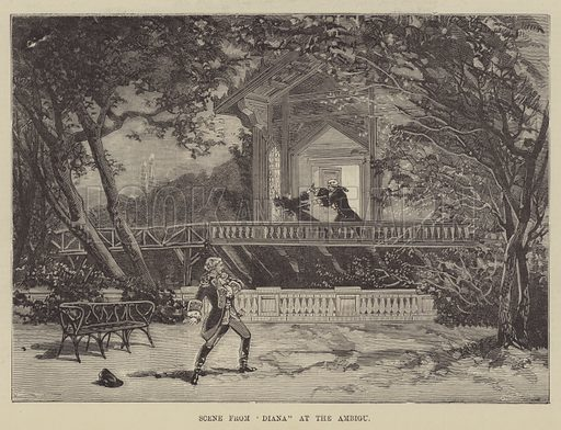 """Scene from """"Diana"""" at the Ambigu. Illustration for The Illustrated Sporting and Dramatic News, 30 October 1880."""