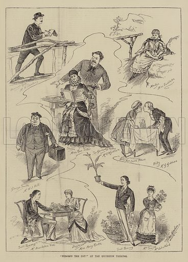 """""""Where's the Cat?"""" at the Criterion Theatre. Illustration for The Illustrated Sporting and Dramatic News, 4 December 1880."""