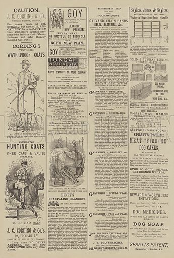 Page of Advertisements. Illustration for The Illustrated Sporting and Dramatic News, 11 December 1880.