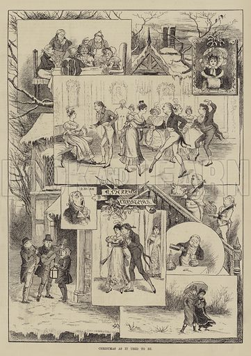 Christmas as it used to be. Illustration for The Illustrated Sporting and Dramatic News, 25 December 1880.